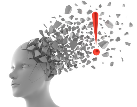 mente: Representaci�n 3D de signo de exclamaci�n que sale de un modelo de cabeza humana Foto de archivo