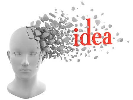 a word of idea coming out from a model of human head