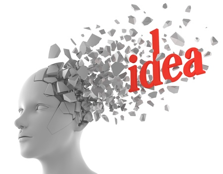 inspirational: a word of idea coming out from a model of human head