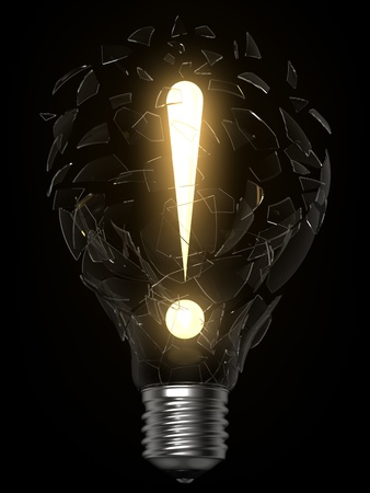 3D rendering of lightbulb and exclamation point breaking the glass Standard-Bild