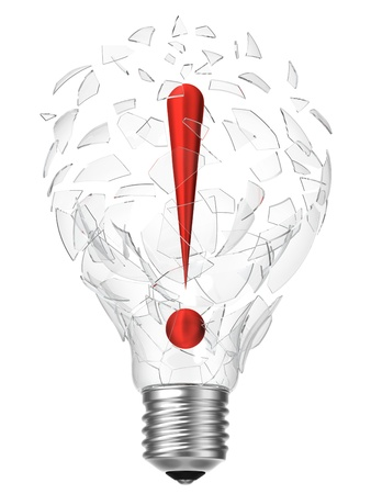 3D rendering of lightbulb and exclamation point breaking the glass Stock Photo