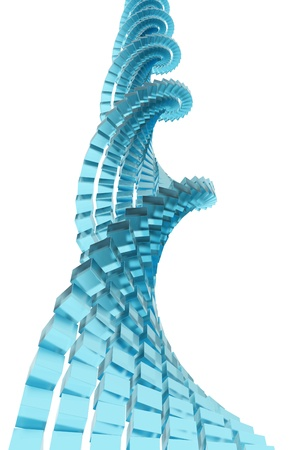 shaping: 3D rendering of blue glass cubes shaping DNA strand