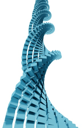 3D rendering of blue metallic cubes shaping DNA strand