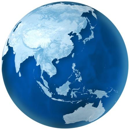 3D-weergave van blauwe aarde met gedetailleerde, land, illustratie. Azië en Australië uitzicht.