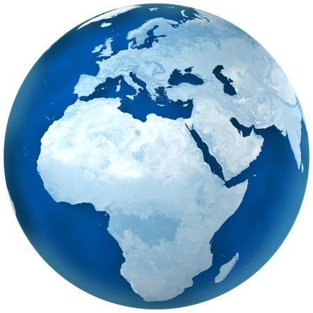 mapa de africa: Representación 3D de la tierra de color azul con la ilustración detallada de la tierra. África y el punto de vista de Europa.