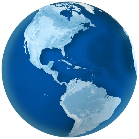 3D rendering of blue earth with detailed land illustration.  North and South America view.