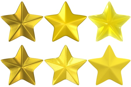 a set of star shapes rendered with various materials:  gold, metallic yellow, yellow glass, and yellow clay.