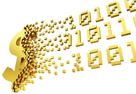 digital illustration: gold money symbol converting into the shapes of binary code representing electronic money.