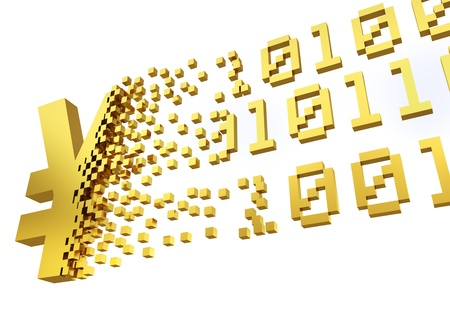 converting: golden yen symbol converting into the shapes of binary code representing electronic money.