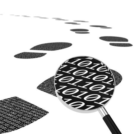 lupa: Počítačem generovaný obraz digitální stopy a lupou představuje digitální krádeže dat stezka
