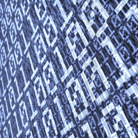abstract background of binary code layers with depth of field effect Stock Photo