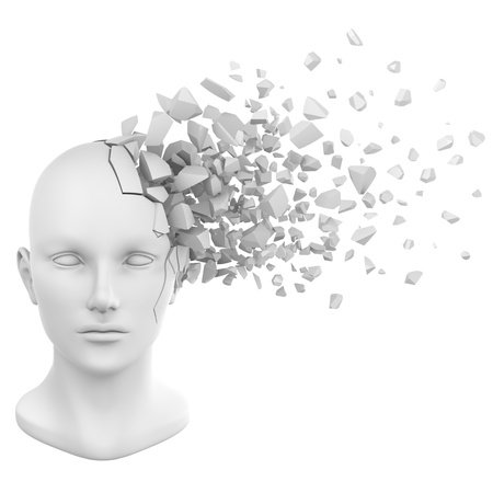 destruct: a shattered human head model from the front view. Stock Photo