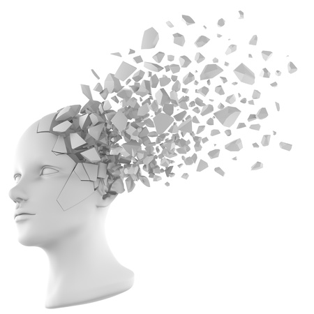 shattered: a shattered human head model from the side view. Stock Photo