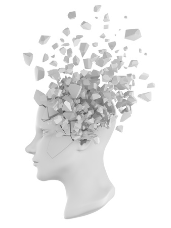a shattered human head model from the side view. Stock Photo