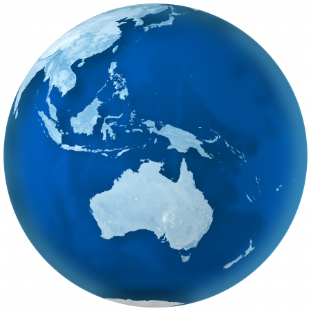 3D rendering of blue earth with detailed land illustration.  Australia view. Stock Photo