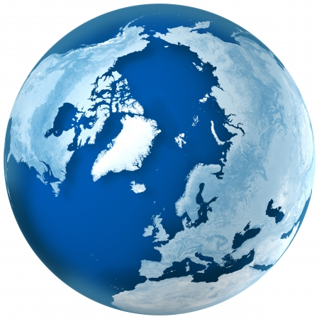 3D rendering of blue earth with detailed land illustration.  the North Pole, Europe,  Asia, and North America view.