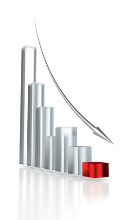 Red glass graph and silver down arrow