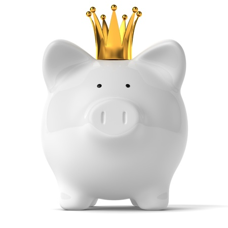 A white piggy bank wearing a golden crown.