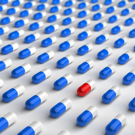 computed: Computed generated image of red and blue pills.