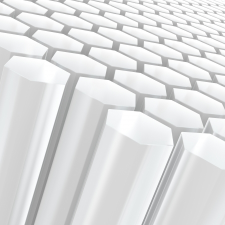 Computer generated image of white semitransparent hexagon shapes  Stock Photo