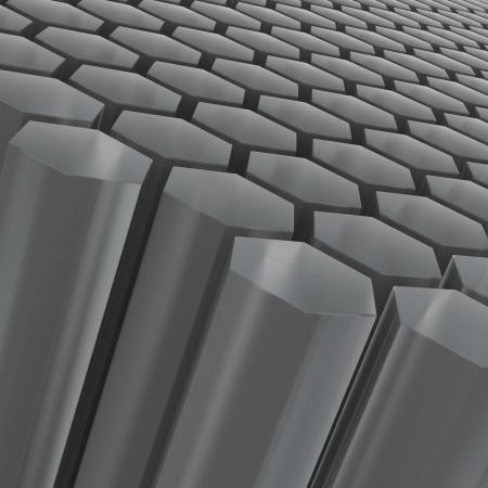 Computer generated image of black semitransparent hexagon shapes  Stock Photo