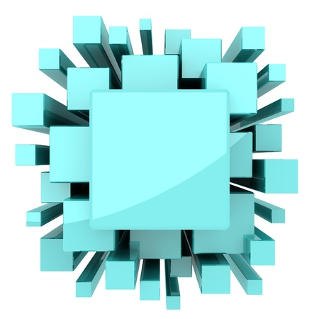 Solid light blue or green cubes for science or technology background.