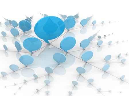 tweet balloon: Blue talking bubbles showing the concept of social network communication. Stock Photo