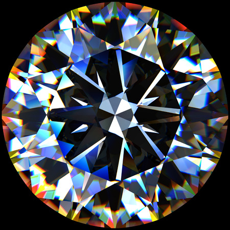 Rendering of a diamond with chromatic dispersion effect.