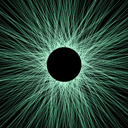 An abstract image of green lines and hole in the center.