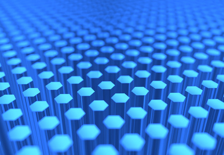 A scientific image of many blue glass hexagons. Stock Photo
