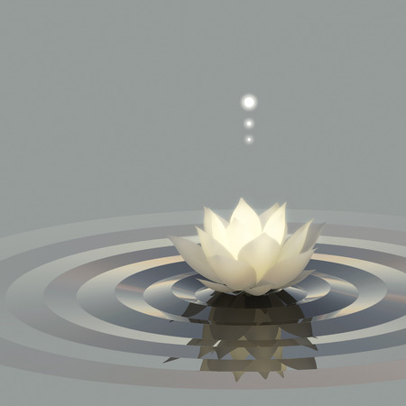 conceptual image: A conceptual image of lotus or water lily on the water emitting light.