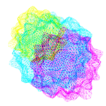 Rendering of colorful wireframe balls of blue, pink, and yellow. Stock Photo