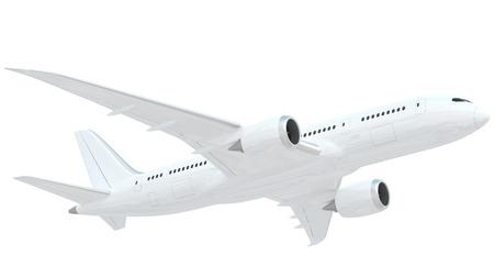 白い背景で隔離の白い飛行機の現実的なレンダリング。 これは、ボーイング 787 の設計に基づいてモデル化しました。 飛行機は、それの現実的な効 写真素材