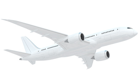 it is isolated: A realistic rendering of a white airplane isolated on white background.  This is modelled based on the design of Boeing 787.  The airplane has slight reflections of clouds giving it a realistic effect.