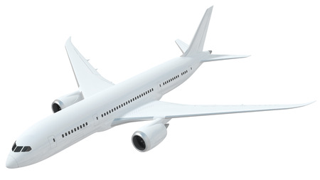 A realistic rendering of a white airplane isolated on white background.  This is modelled based on the design of Boeing 787.  The airplane has slight reflections of clouds giving it a realistic effect.