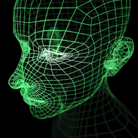 A computer generated imagery of a polygonal human head model rendered with wireframe style.  Greenish overall, brightest around the eye area.  It could represent a will, thought, mind or artificial intelligence in the cyberspace. Stock Photo