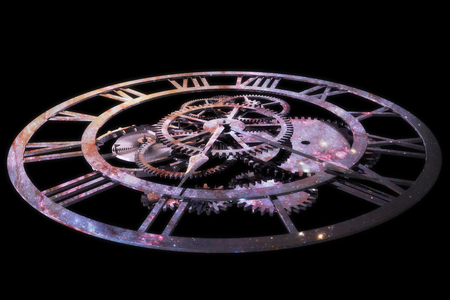 An imagery of bear clock with reflection of stars representing the concept of time and universe.