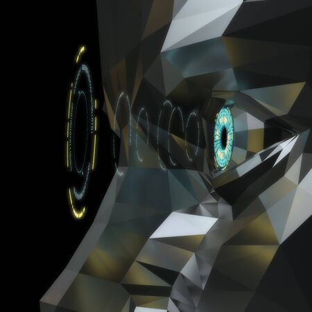 3D render image of sci-fi style eye.  An artificial intelligence concept.