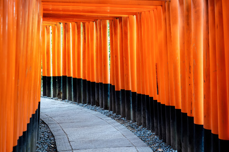 world cultural heritage: The world cultural heritage, red gate way, torii corridor in Fushimi Inari Taisha, traditional temple in Kyoto, Japan Editorial