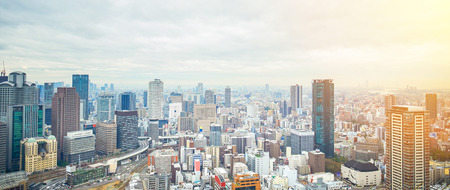 Business concept for real estate and corporate construction - panoramic modern city skyline bird eye aerial view with dramatic sunrise and morning sky in Osaka, Japan 版權商用圖片