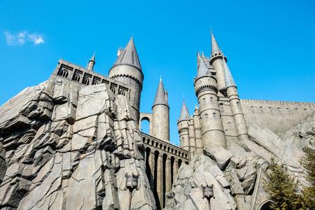 De Wizarding World of Harry Potter, het middeleeuwse kasteel in Universal Studios Japan (USJ), Osaka, Japan Redactioneel