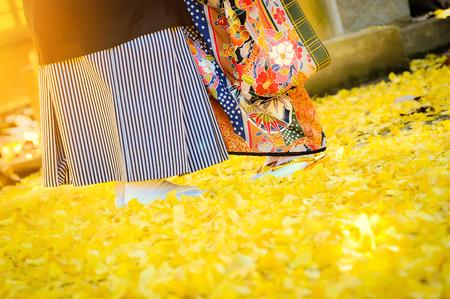 Traditionele Japanse ceremonie huwelijk mooie dag, jong echtpaar dragen kimono onder gouden ginkgo bladeren withs stralende zonlicht in heiligdom tempel bij de herfstseizoen Stockfoto