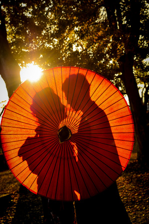 love silhouette: Traditional Japanese ceremony wedding lovely day, silhouettes of married couple holding red paper umbrella in hands, kissing under golden sunset in shrine temple garden, colorful maple ginkgo leaves Stock Photo