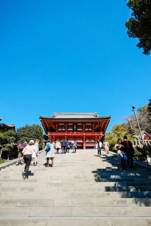 ze: The famous heritage, traditional temple Hachiman Shrine with golden red roof against blue sky in Tokyo, Japan