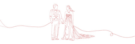 couple holding hands: One line sketch drawing illustration of lovely wedding ceremony, young married couple holding hands isolated on white background