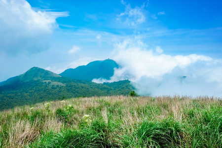 ming: Panoramic bird eye aerial view of beautiful morning sunrise, dramatic cloud of sea, grassland under bright blue sky in Yangmingshan(Yang ming Mountain) National Park in Taiwan