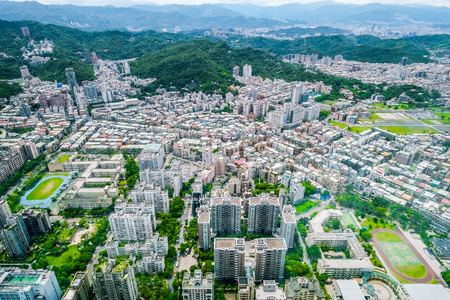 Business concept for real estate and corporate construction : panoramic modern city bird eye view with and morning cloudy blue sky from 101 building in Taipei, Taiwan Stockfoto
