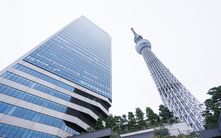 Tokyo, Japan - Oct, 13, 2106 : Business concept for real estate and corporate construction : Looking up view of Tokyo Skytree(sky tree), the landmark of Japan with white background