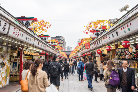 senso ji: Toyko, Japan - 13 October 2016: Tourists walk on store street in Senso ji shrine. the history culture Heritage in Asakusa district, Tokyo, Japan