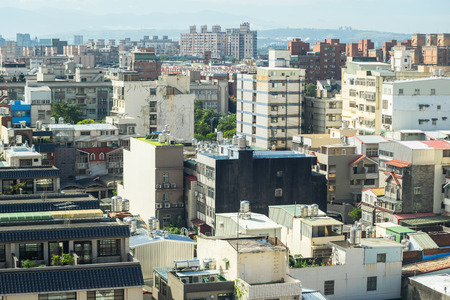 apartment tower old town: Business and culture concept - panoramic modern city skyline bird eye aerial view under dramatic morning blue cloudy sky in Taiwan Stock Photo